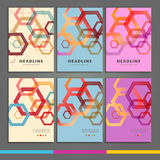Set of six book covers the background hexagons Royalty Free Stock Photo