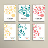 Set of six book covers the background hexagons Royalty Free Stock Photos