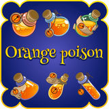 Set of six bottles with orange poison Royalty Free Stock Images