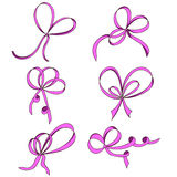 A set of six bows. Pink.  on white background. Royalty Free Stock Photos