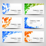 Set of six business cards. Design of business cards Stock Photography