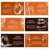 Set of six business cards. Beer company. Restaurant theme. Royalty Free Stock Photo