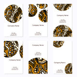 Set of six business cards. Corporate identity vector template wi Stock Images