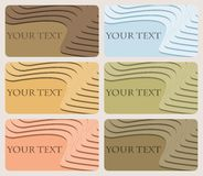 Set of six business cards with elegant pattern of volume stairs-. Set of six multicolored business cards with rounded corners decorated with elegant pattern of Stock Photos