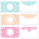 Set of six business cards with mandala. Corporate identity vecto Stock Photos