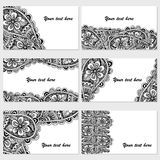 Set of six business cards. Vintage pattern in retro style with doodle. Royalty Free Stock Photos