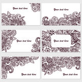Set of six business cards. Vintage pattern in retro style with doodle. Royalty Free Stock Photo