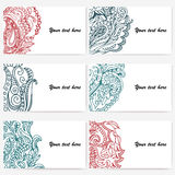 Set of six business cards. Vintage pattern in retro style with doodle. Stock Photos