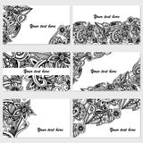 Set of six business cards. Vintage pattern in retro style with doodle. Royalty Free Stock Photography
