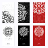 Set of six business cards. Vintage pattern in retro style with mandala. Hand drawn Islam, Arabic, Indian, lace pattern vector illustration