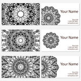 Set of six business cards. Vintage pattern in retro style with mandala. Hand drawn Islam, Arabic, Indian, lace pattern Stock Image