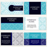 Set of six business cards. Vintage pattern in retro style with mandala. Hand drawn Islam, Arabic, Indian, lace pattern Royalty Free Stock Images