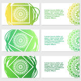 Set of six business cards. Vintage pattern in retro style with mandala. Hand drawn Islam, Arabic, Indian, lace pattern Royalty Free Stock Photography