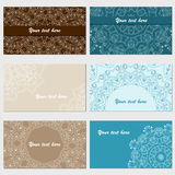 Set of six business cards. Vintage pattern in retro style with o Stock Photography