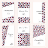 Set of six business cards. Vintage pattern in retro style with o Royalty Free Stock Images