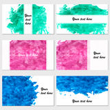 Set of six business cards. Vintage pattern with watercolor on ba Royalty Free Stock Image