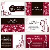 Set of six business cards. Wine company. Restaurant theme. Vecto Royalty Free Stock Photos