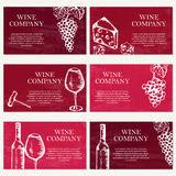 Set of six business cards. Wine company. Restaurant theme. Vecto Stock Photography