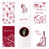 Set of six business cards. Wine company. Restaurant theme. Vector illustration. Royalty Free Stock Photo