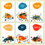 Set of six cards with bright text and berries Royalty Free Stock Photo