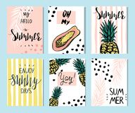 Summer templates with hand drawn tropic fruts and plants stock image