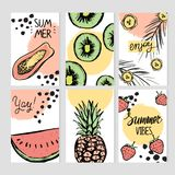Summer templates with hand drawn tropic fruts and plants stock images