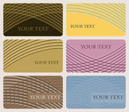 Set of six cards with elegant pattern of gently curving lines Stock Photos