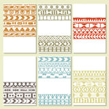 Set of six cards with ethnic decoration Stock Photos