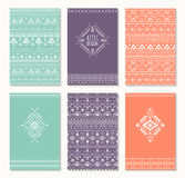 Set of six cards, ethnic design. Stock Photo