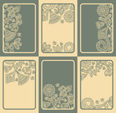 Set of six cards with floral designs Royalty Free Stock Photo