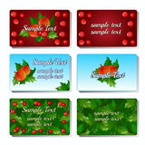 Set of six cards with Holly berry and fruit royalty free illustration