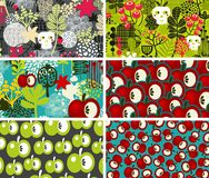 Set of six cards with skulls and apples. Stock Photography