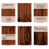 Set of six cards. Wooden texture. Place for text. royalty free illustration