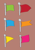 Set of Six Cartoon Flag Vector Icons Royalty Free Stock Photo