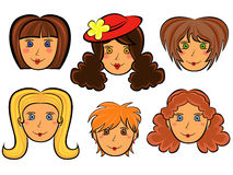 Set of six cartoon women faces Royalty Free Stock Image