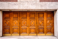Set of six carved wooden outside doors Stock Photo