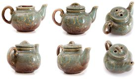 Set of six ceramic kettle Royalty Free Stock Images