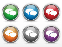 Chat web buttons. Set of six chat web buttons with speech bubbles royalty free illustration
