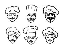 Set of six chef or cooks heads Royalty Free Stock Images