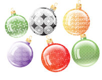 Set of six Christmas balls. Stock Photo