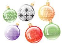 Set of six Christmas balls. stock photo