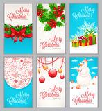 Set of six Christmas cards Stock Photography