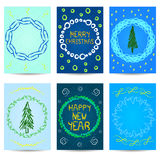 Set of six Christmas cards. New year design. Royalty Free Stock Photography