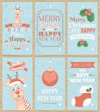 Set of six Christmas greeting cards. Royalty Free Stock Photos