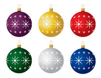 Set of six Christmas ornaments. Vector. Vector illustration of Christmas ornaments with pattern in six colors: red, blue, silver, gold, plum, green Royalty Free Stock Photos