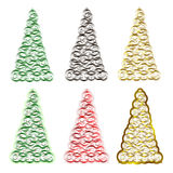 Set of six Christmas trees. Green, red, black and gold. Design for Christmas cards, banners and flyers. Geometric style. Circles of different sizes. New year's Stock Photos