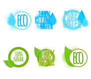 Set of six clear water and ecology labels Royalty Free Stock Image