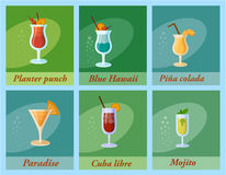 Set of six  cocktails. Flat style summer cocktails. Stock Image