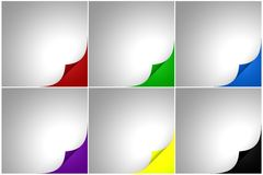 Set of six color curled Stock Images