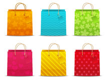 Set of color shopping bags Stock Images